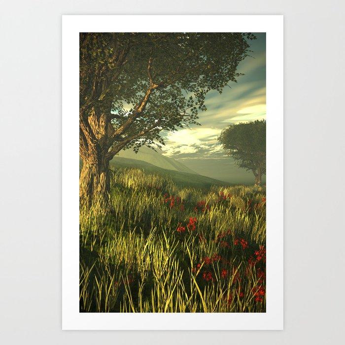Summer tree in a poppy field Art Print