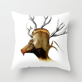 Lady and her Stag. Throw Pillow