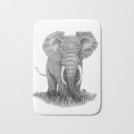 Elephant illustration - Keep Wildlife In The Wild Bath Mat