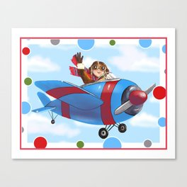 Red Airplane with boy Pilot Canvas Print