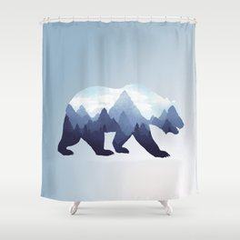 Bear Double Exposure Surreal Wildlife Animal Grizzly Wilderness Outdoors Shower Curtain