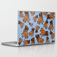pugs Laptop & iPad Skins featuring spotty pugs by lindseyclare