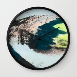 Imagine: a minimal, mixed media piece in black, white, blue, teal, yellow, and peach Wall Clock