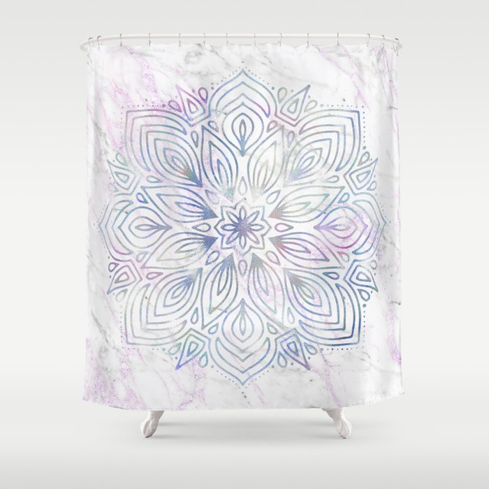 Marble Mandala Purple Blue Rose Gold Shower Curtain By