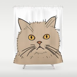 Fat brown cat staring Shower Curtain