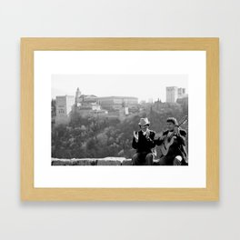 Busking under the Granada Sun Framed Art Print