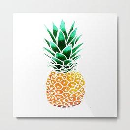 Pineapple Drawing Watercolor painting Metal Print