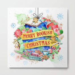 Merry Bookish Christmas Metal Print