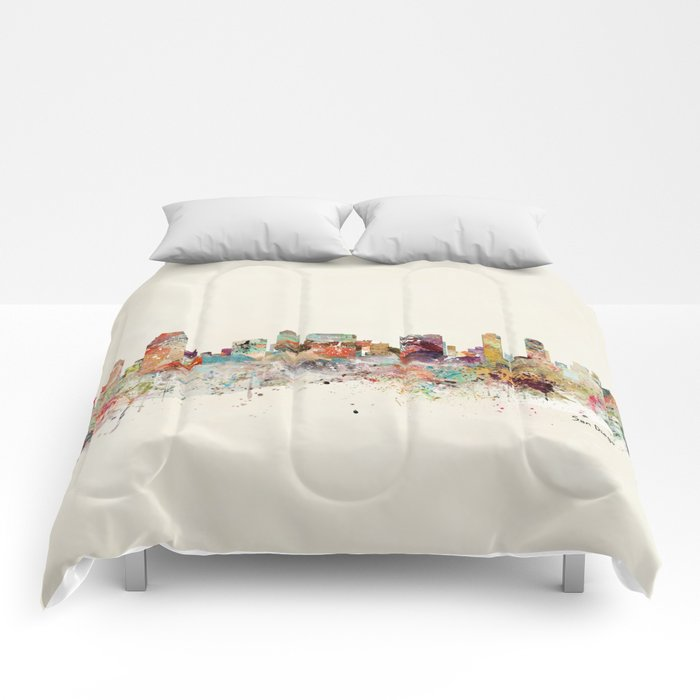 san diego california skyline Comforters
