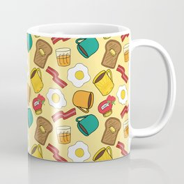 Doodle breakfast: toasts, jam, juice, coffee, bacon, eggs on a yellow background Coffee Mug