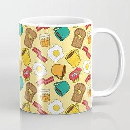 Doodle breakfast: toasts, jam, juice, coffee, bacon, eggs on a yellow background Coffee Mug