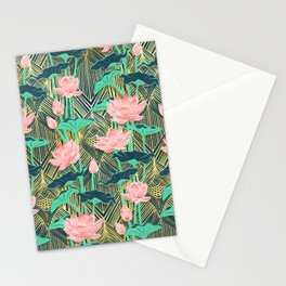 Art Deco Lotus Flowers in Peach & Emerald Stationery Cards