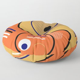 Opposing Sides - Abstract, orange and mustard, geometric, contrasting design Floor Pillow