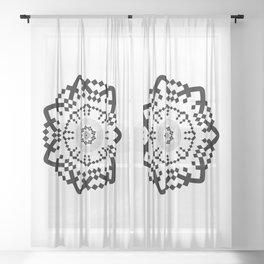 Aztec Mandala [BW VAR] Sheer Curtain