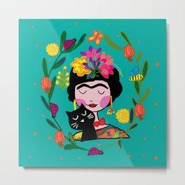 Frida with black cat Metal Print