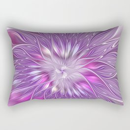 Pink Flower Passion, Abstract Fractal Art Rectangular Pillow