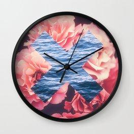 flowers - roses - ocean - waves Wall Clock