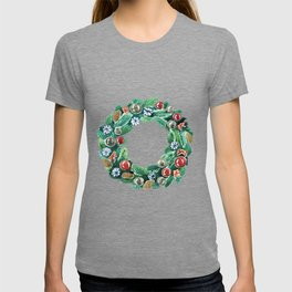 Christmas wreath. New Year decoration. Adornment coniferous green with cones, balls, snowflakes red bows. T-shirt