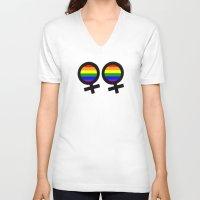 lesbian V-neck T-shirts featuring Lesbian Sign by Piensa Gay
