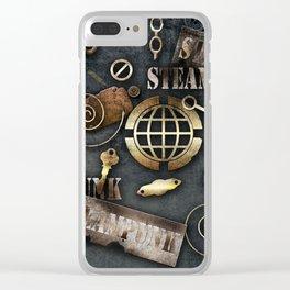 Mechanical steampunk grunge print. Clear iPhone Case