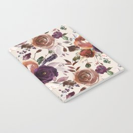 Bohemian orange violet brown watercolor floral pattern Notebook