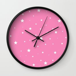 Scattered Stars on Pink Wall Clock