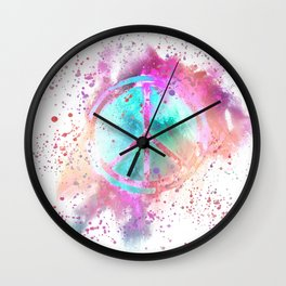 Colorful Painted Peace Symbol Hippie Style Wall Clock