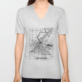 Eau Claire Road Map Unisex V-Neck
