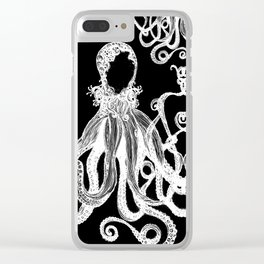 Octopus Black and White Clear iPhone Case