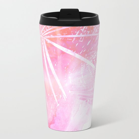 Abstract Pink Palm Tree Leaves Design Metal Travel Mug