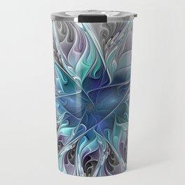 Flourish Abstract, Fantasy Flower Fractal Art Travel Mug