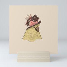 Bird in Hat 2 (Cockatoo) Mini Art Print