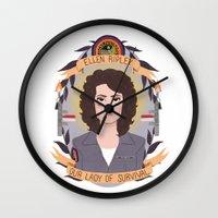 ripley Wall Clocks featuring Ellen Ripley by heymonster