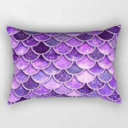 Pantone Ultra Violet Glitter Ombre Mermaid Scales Pattern Rectangular Pillow