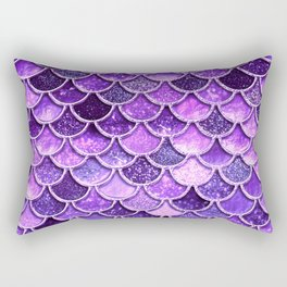 Pantone Ultra Violet Glitter Ombre Mermaid Scales Pattern Rectangular Pillow