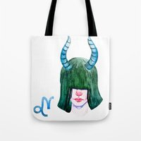 capricorn Tote Bags featuring Capricorn by Aloke Design