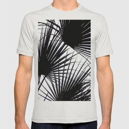 Black and White Tropical Leaves T-shirt