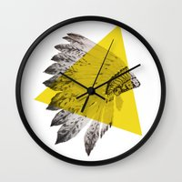 headdress Wall Clocks featuring headdress by morgan kendall