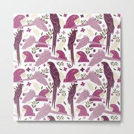 Ara Parrot Pattern Burgundy Pink On White Metal Print