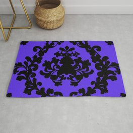 Victorian Damask Purple and Black Rug