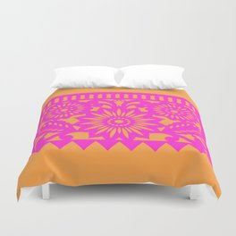 PAPEL PICADO - pink orange Duvet Cover