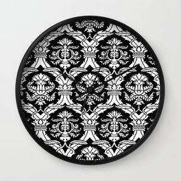 Black & White Italianate Brocade Wall Clock