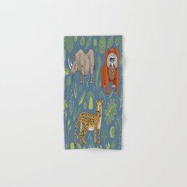 endangered animals, black rhino, amur leopard, bornean orangutan Hand & Bath Towel