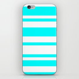 Mixed Horizontal Stripes - White and Aqua Cyan iPhone Skin