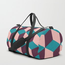 Mod cube purple blue and pink pattern Duffle Bag