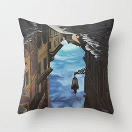 Oil painting reflection of street lantern  Throw Pillow