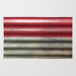 Industrial Wall | Red Grey Striped Wall | Contemporary Art Rug