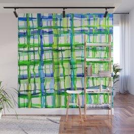 Blue Green Plaid Wash Wall Mural