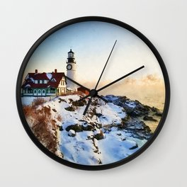 Lighthouse in a snowy shore watercolor painting  Wall Clock