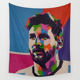 Colores Messi Cara Wall Tapestry